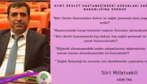 SİİRT DEVLET HASTANESİ İLE İLGİLİ TBMM'YE SORU ÖNERGESİ