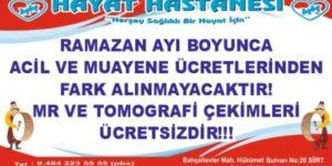 ÖZEL HAYAT HASTANESİNDEN RAMAZAN FIRSATI