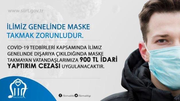 SİİRT'TE MASKE TAKMAYANA 900 TL CEZA!..