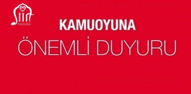 """SİİRT VALİLİĞİ """"VİRÜS VAKALARIN POZİTİF"""" SÖYLENTİLERİNİ YALANLADI"""